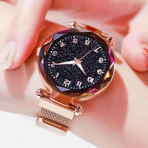 Relógio Feminino Magnético Brilhante Céu Estrelado Promoção