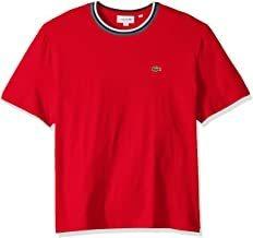 Lacoste - Camiseta De Punto, Jersey, Top, Rayas, Hombre, Roj