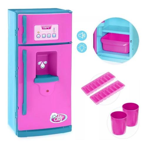 Geladeira Infantil Usual Brinquedos Som E Luz Rosa/azul