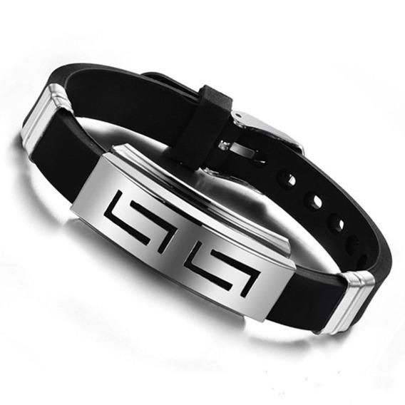 Pulseira Bracelete Silicone Aço Inox Promoção