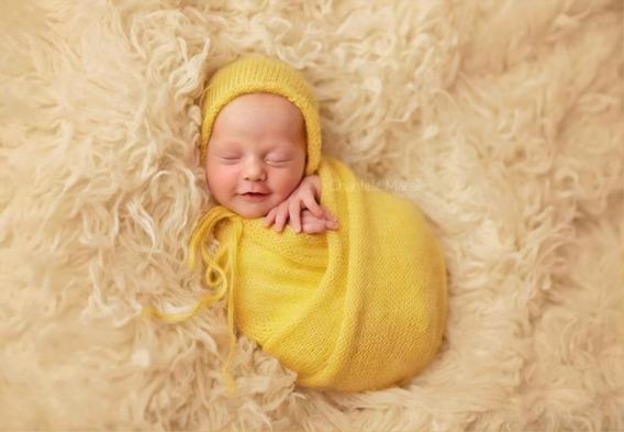 65 Cores Disponíveis - 3 Wrap + 3 Touca Newborn Manta Props