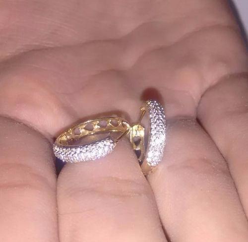 Brinco Argola Em Ouro Amarelo 18k/750 Com Diamantes Naturais