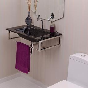 Gabinete Para Banheiro De Vidro William Astra Preto Fdwt