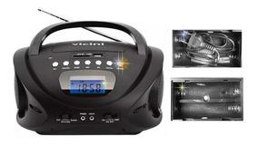 Radio Mp3 Portátil Am/fm Relógio Alarme 110v Ou 220v