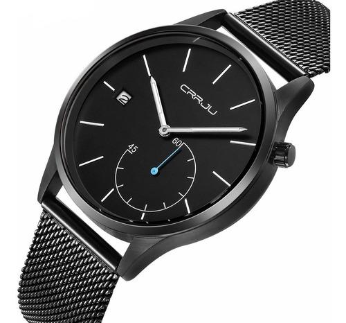 Relógio Masculino Casual Luxo Preto Crrju Funcional Metálico