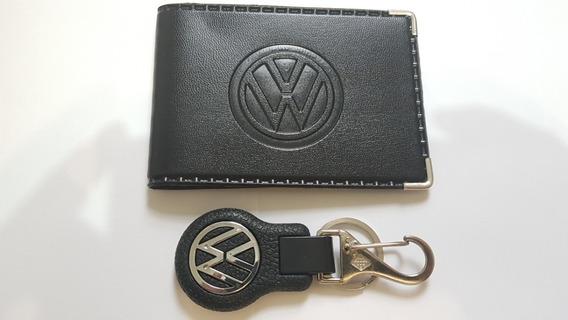 Kit Carteira Logo Volkswagen Chaveiro Vw Com Mosquetao