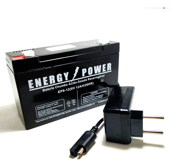 Kit Bateria 6v12ah Energy Carregador Moto Elétrica Biemme