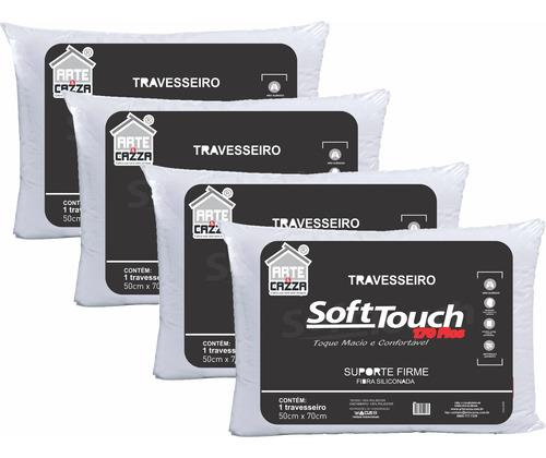 Travesseiro Soft Touch Antialérgico Lavável Kit 4 Unidades