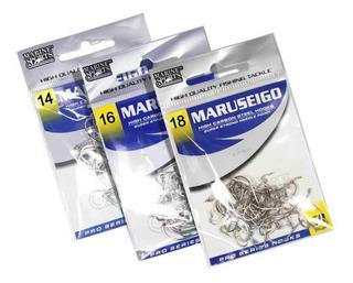 Anzol Marine Sports Maruseigo Nickel N. 14, 16 E 18 Kit C/ 150 Sendo 50 De Cada Tamanho Ideal P/ Piapara, Pacu, Piauçu