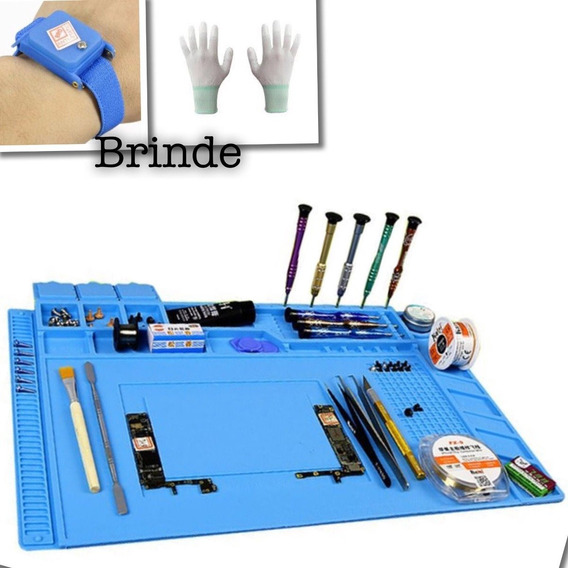 Manta Anti Estática Profissional S160 Azul+kit Jakemy+brinde