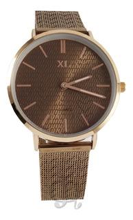 Reloj Xl Extra Large Dama Chocolate Dorado Rose Xl791
