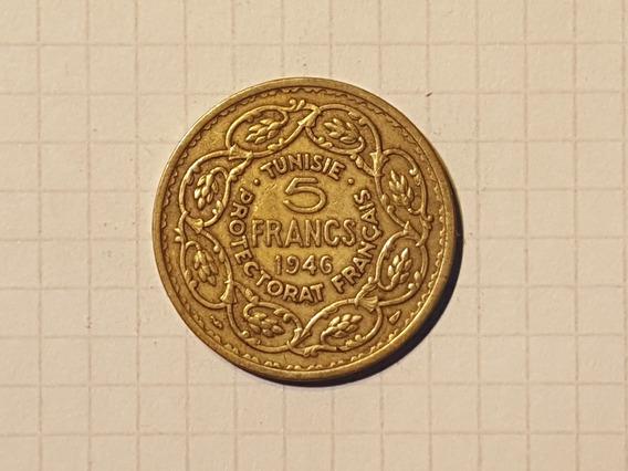 Tunez 5 Francos 1946 Protectorado Frances