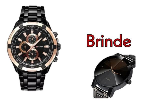 Relógio Masculino Curren Preto Modelo 8023-6 + Brinde