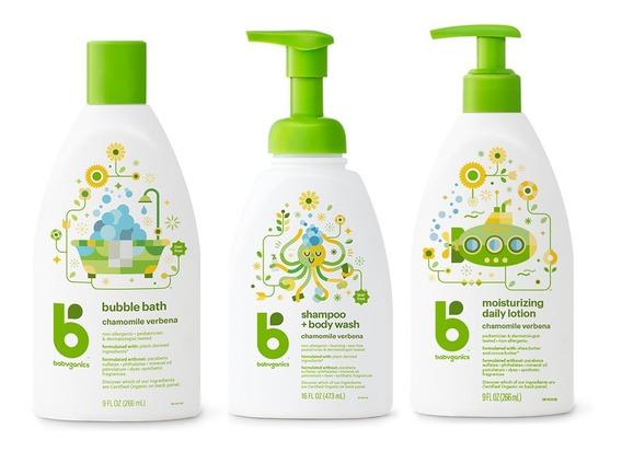 3 Pack Babyganics: Shampoo& Bw, Daily Lotion & Bubble Bath.