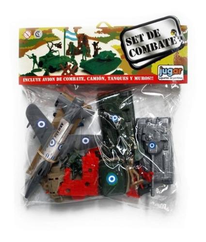 Imagen 1 de 5 de Set Combate Soldados Plastico Con Avion Tanque Camion Jug.ar