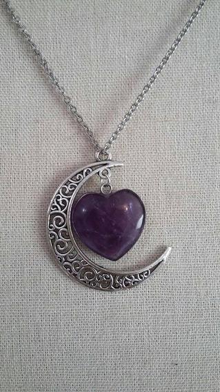 Collar Luna De Corazon Amatista 100% Natural Amuleto