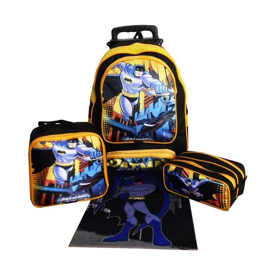 Kit Mochila Infantil Batman Masculina Lancheira Estojo Aulas