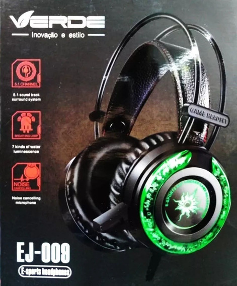 Fone Gamer Headset Com Microfone Marca Verde Ej-009