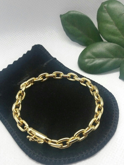 Pulseira Masculina 5mm Banhada A Ouro Fecho Bomba Luxo