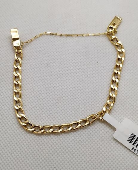 Pulseira Em Ouro 18k Elo Por Elo 18cm Com Pega Ladrão 4,55g