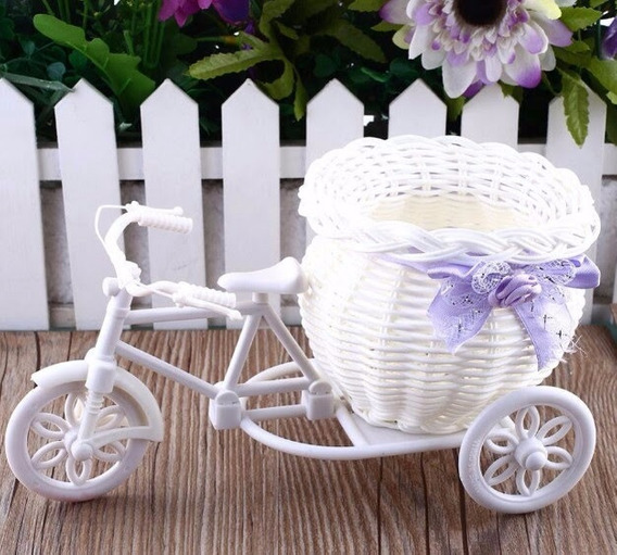 Cesto Decorativo Par Flores Estilo Bicicleta
