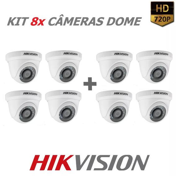 Kit 8 Câmeras Hikvision Dome Lente 3,6mm 720p Metal Ir 20m