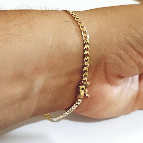 Pulseira Masculina Banhada A Ouro 18k 3mm Grumet