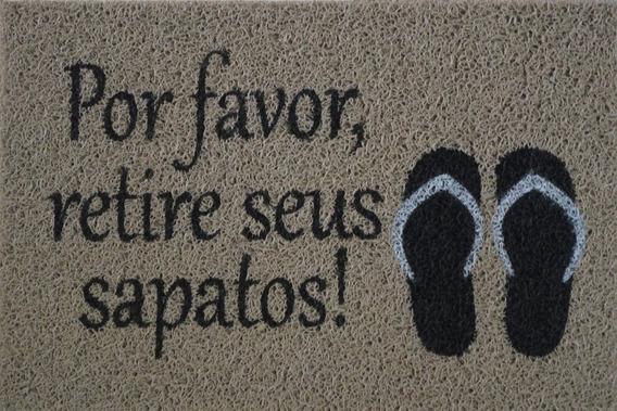 Tapete Personalizado Por Favor Retire Seus Sapatos Prata