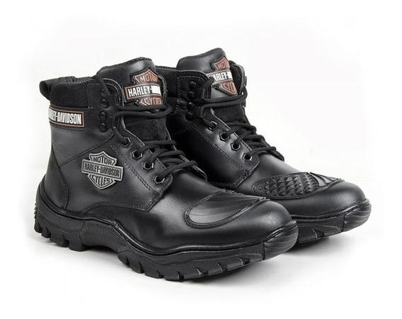 Bota Coturno Harley Davidson Nova 100% Couro Impermeavel Hd