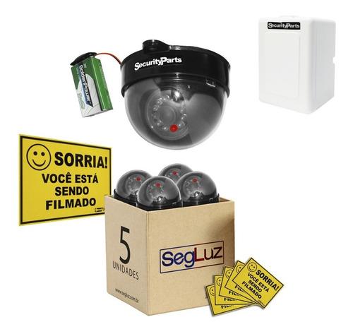 Câmera Segurança Dome Falsa C/ Led Sem Fio C/ Caixa 5pçs