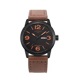 Cronografo Reloj De Pulsera De Cuero De Cuarzo Para Hombre R