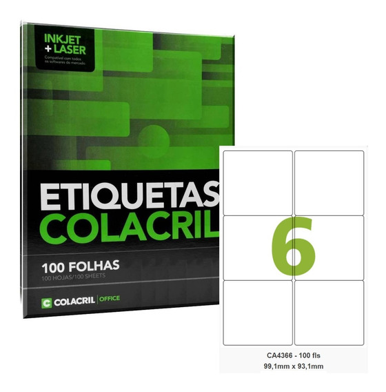Etiqueta Adesiva A4 Ca4366 99,1x93,1mm 500 Folhas Colacril