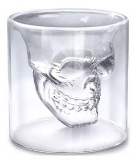 Vaso Grande Whiskero Calavera De Cristal Doble Fondo (pz)