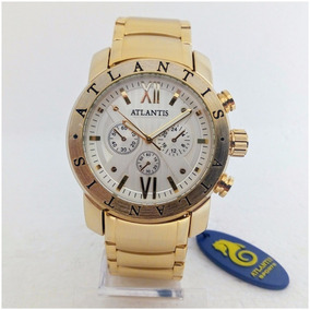 Relógio Masculino Atlantis A3310 Dourado Branco Tipo Bulgari