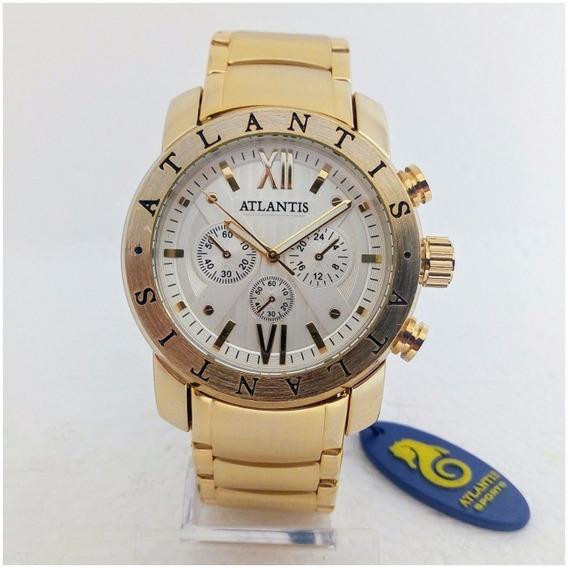 Relógio Masculino Atlantis A3310 Dourado Original Frete Gratis Estilo Bugary 12x Sem Juros