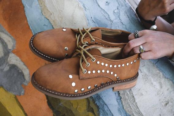 Zapatos Abotinado Mujer Cuero Bajos Mocasín