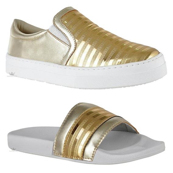 Kit Chinela + Slipper Leve Feminino Promoção Emanuelly Shoes