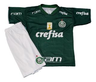 Kit Conjunto Camisa Palmeiras Infantil Verde 2019/2020