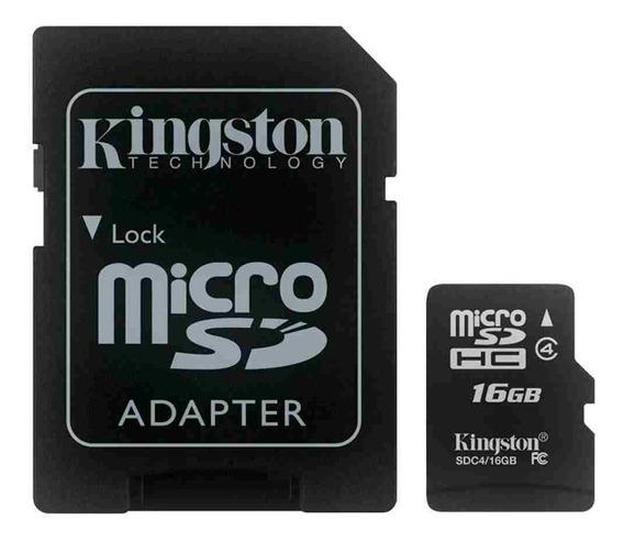 Cartão De Memória Micro Sd Kingston 16gb Com Adaptador