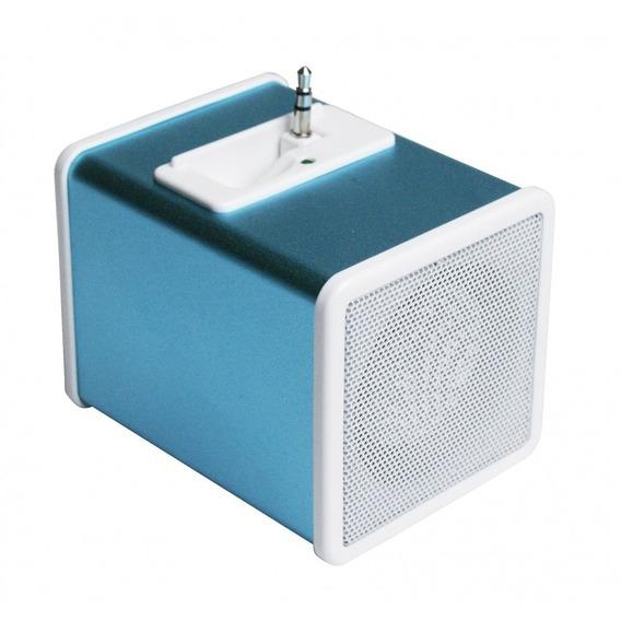 Caixa Acústica Em Formato De Cubo Plug Retrátil P2 Azul
