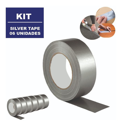 Fita Adesiva Silver Tape Multiuso 48mm X 10m Kit 6 Unidades