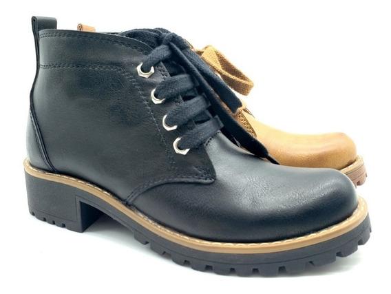 Botas Zapatos Borcego Acordonado Cuero Mujer Savage Bor180