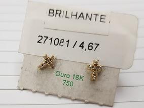 Brinco Pequeno Ouro 18k Cruz + Diamantes Brilhantes Feminino
