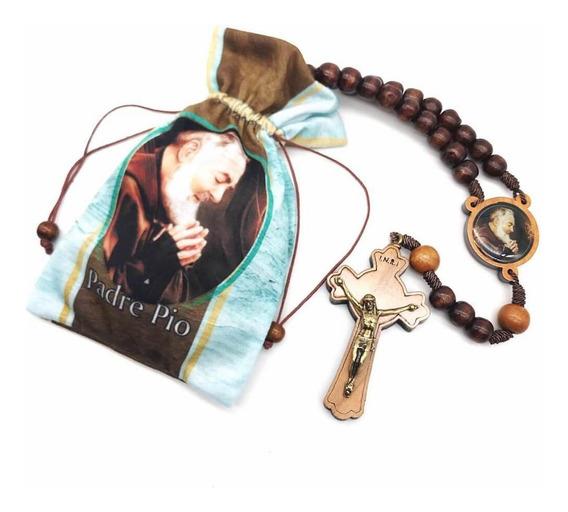 Terço São Padre Pio Madeira Com Saquinho De Tecido