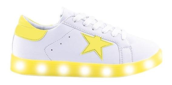 Zapatillas Footy Led Usb Estrella Amarillo Flúor Fty