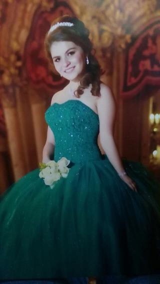 Vestido Xv Años Verde Jade.