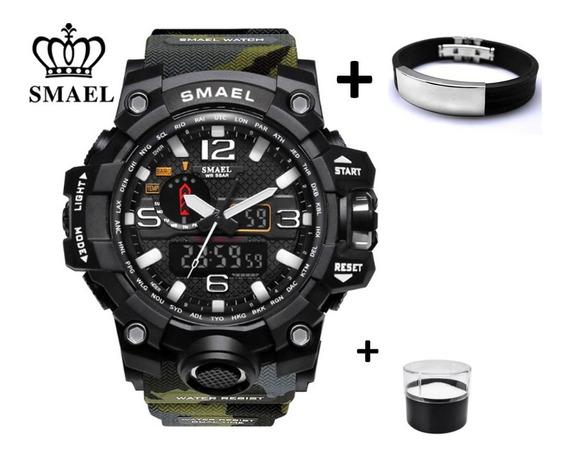 Relógio Smael Oversize Militar Multifunções Esportivo 5bar