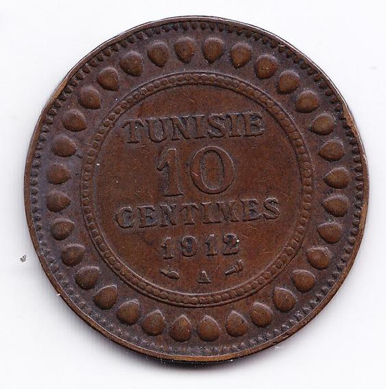 Tunez Moneda 10 Centavos 1912 Bronce Km 236 Vf+ Muy Bien