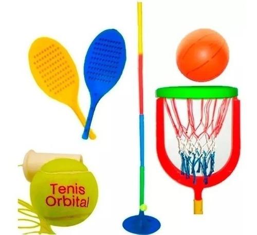 Juego Tenis Orbital + Accesorios De Basquet Niños Jardin
