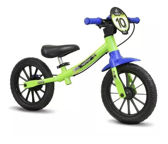 Bicicleta Infantil Sem Pedal Equilíbrio Balance Verde Nathor